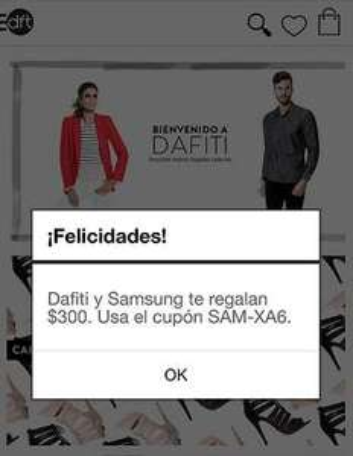 Dafiti: cupón de $300 de descuento sin mínimo de compra (sólo app Android)