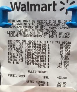 Walmart (Metepec): jabón persil de 3k 2x99, 1 en 81, ahorro 63