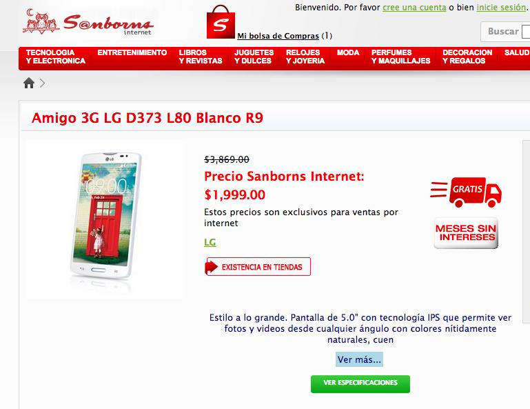 Sanborns: Celular LG L80 D373 a $1,999 Envío Gratis + Meses sin intereses