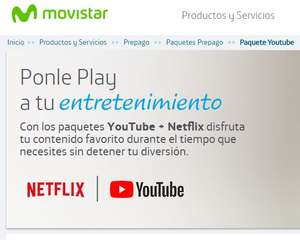 Movistar: Datos para Youtube y Netflix (ej. 100 MB a $20 por un día)