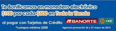 Chedraui: $100 de bonificación por cada $500 de compra con Banorte e IXE