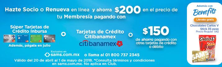 Sam's Club: Hazte Socio o Renueva tu membresía con Banamex ($350 con otras tarjetas)
