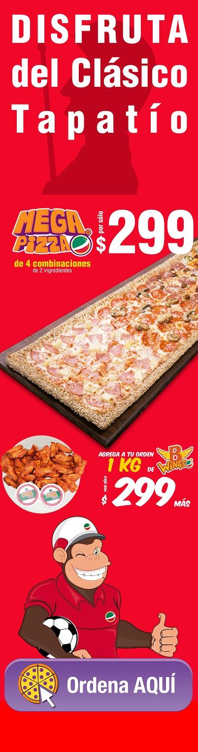Benedetti's: Mega Pizza de 4 combinaciones 2 ingredientes $299... agrega a tu orden 1 kg. de BWings $299 más