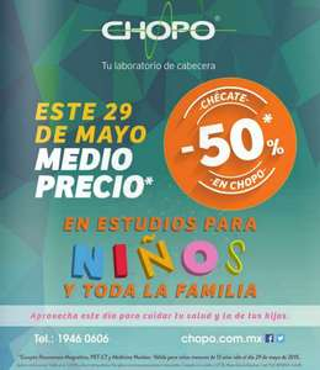 Laboratorios CHOPO: 50% de descuento en estudios para niños mayo 29 (DF)