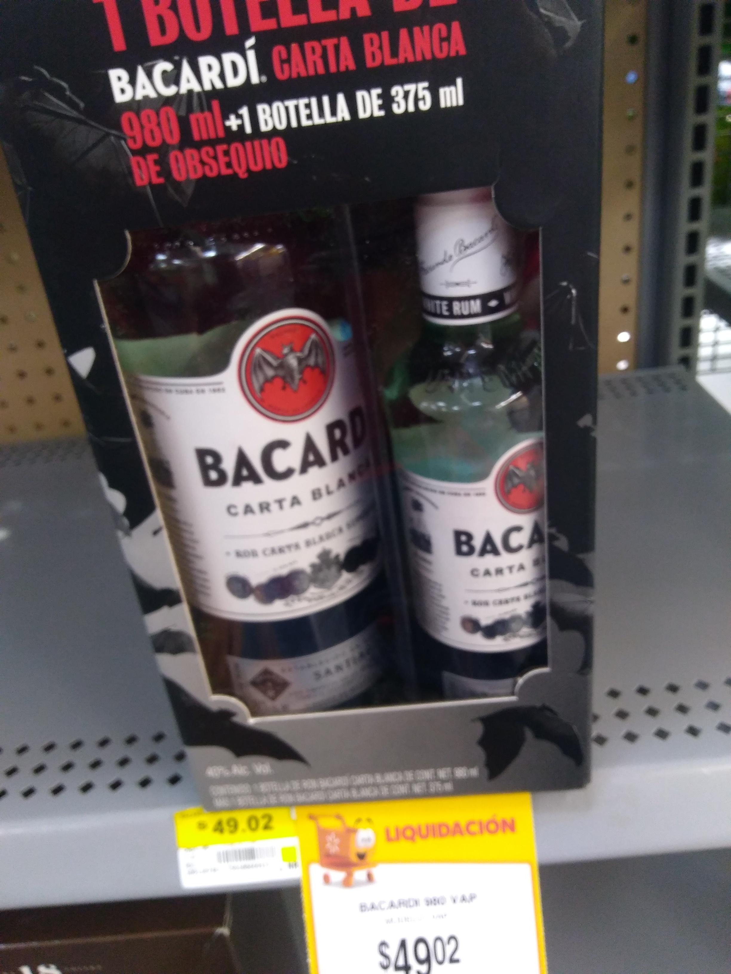 Walmart Zacatecas Bacardi un litro con Panchita de 375 militros a $49.02