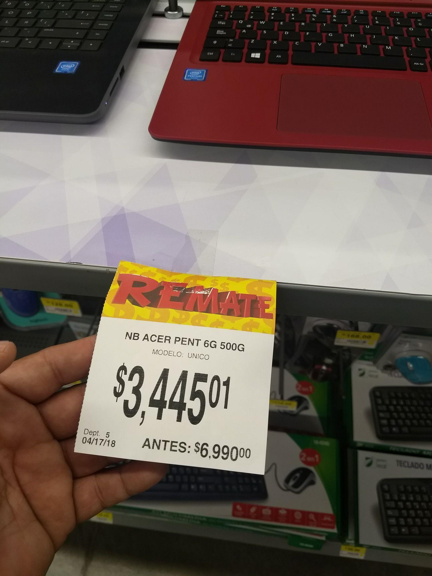 Bodega Aurrerá: Laptop Acer pent 6g 500