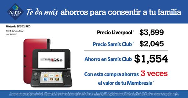 Sam's Club: Nintendo 3DS XL a $2045
