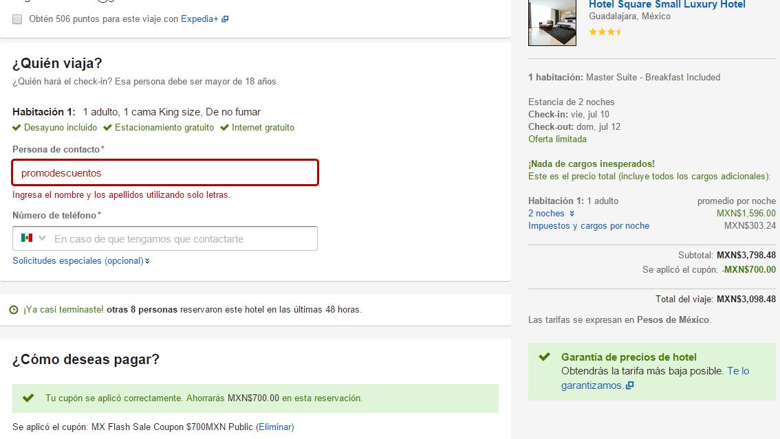 Expedia.mx $700 de descuento en reservación de hotel (mín $3,000)