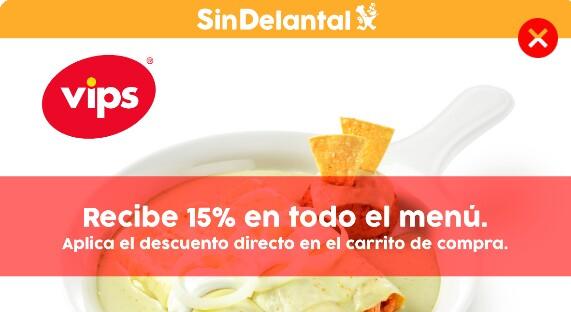 Sin Delantal: Obtén 15%de  descuento en restaurante vips