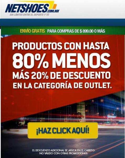 Netshoes: 20% de descuento adicional en categoría outlet