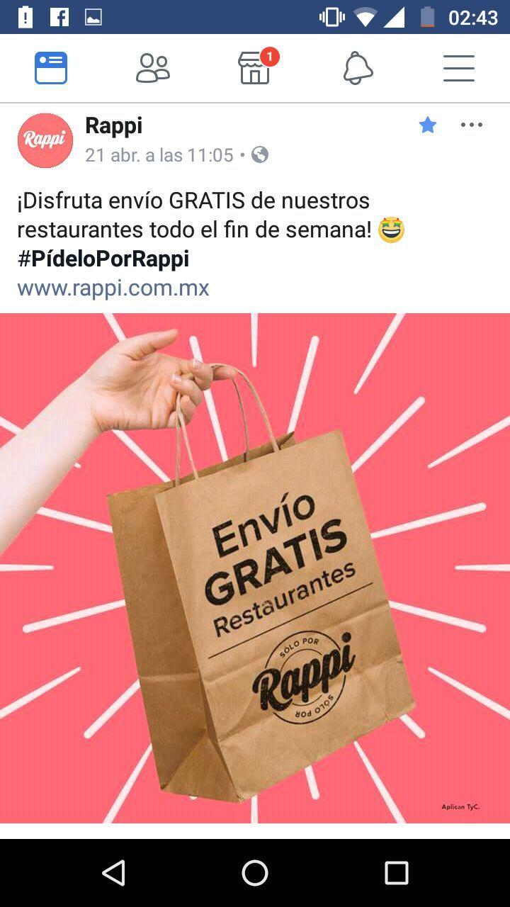 Rappi: Envío gratis en restaurantes todo el fin de semana