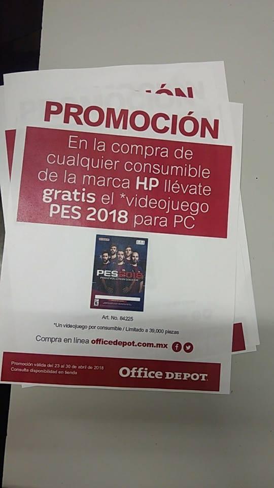 Office Depot: Pes 2018 para PC gratis en la compra de un consumible HP