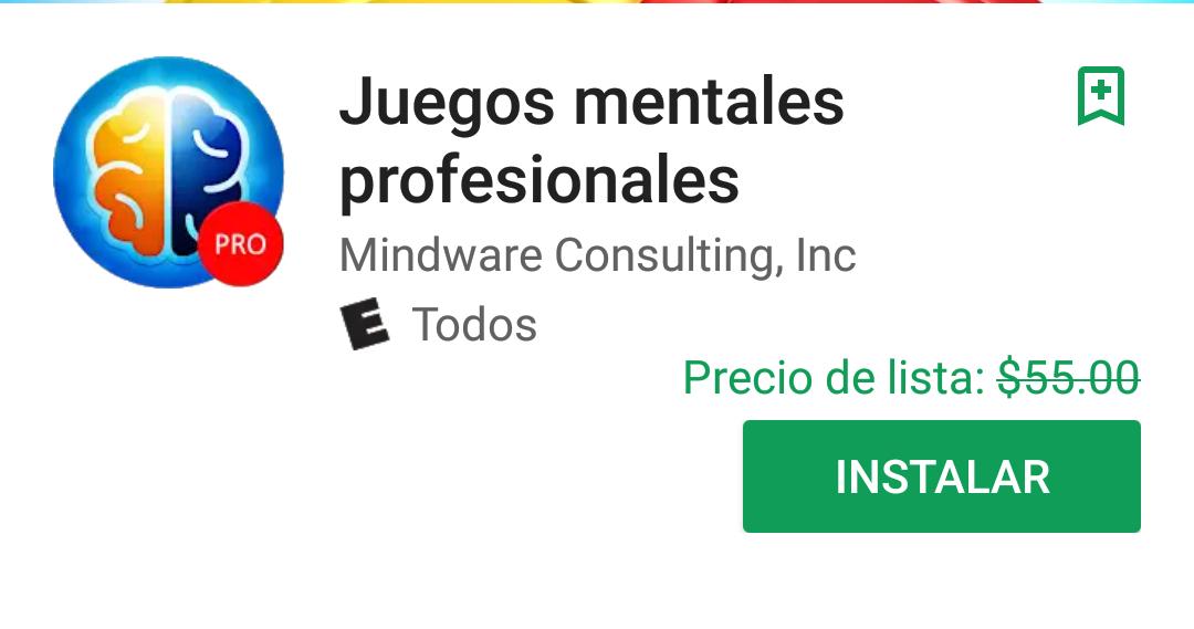 Google Play: Juegos Mentales Profesionales
