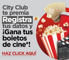 CITY CLUB: afiliacion o renovacion en $200.00 y 2 entradas de cine.