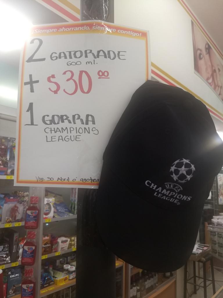 Farmacias Guadalajara: Gorra Champions League $30 pesos en compra de Gatorade