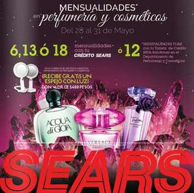 Sears: espejo con luz con compra mínima en perfumería y cosméticos