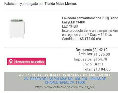 Outlet Mabe: Lavadora semiautomática 7 Kg Blanca EasyLED734B0 con cupones