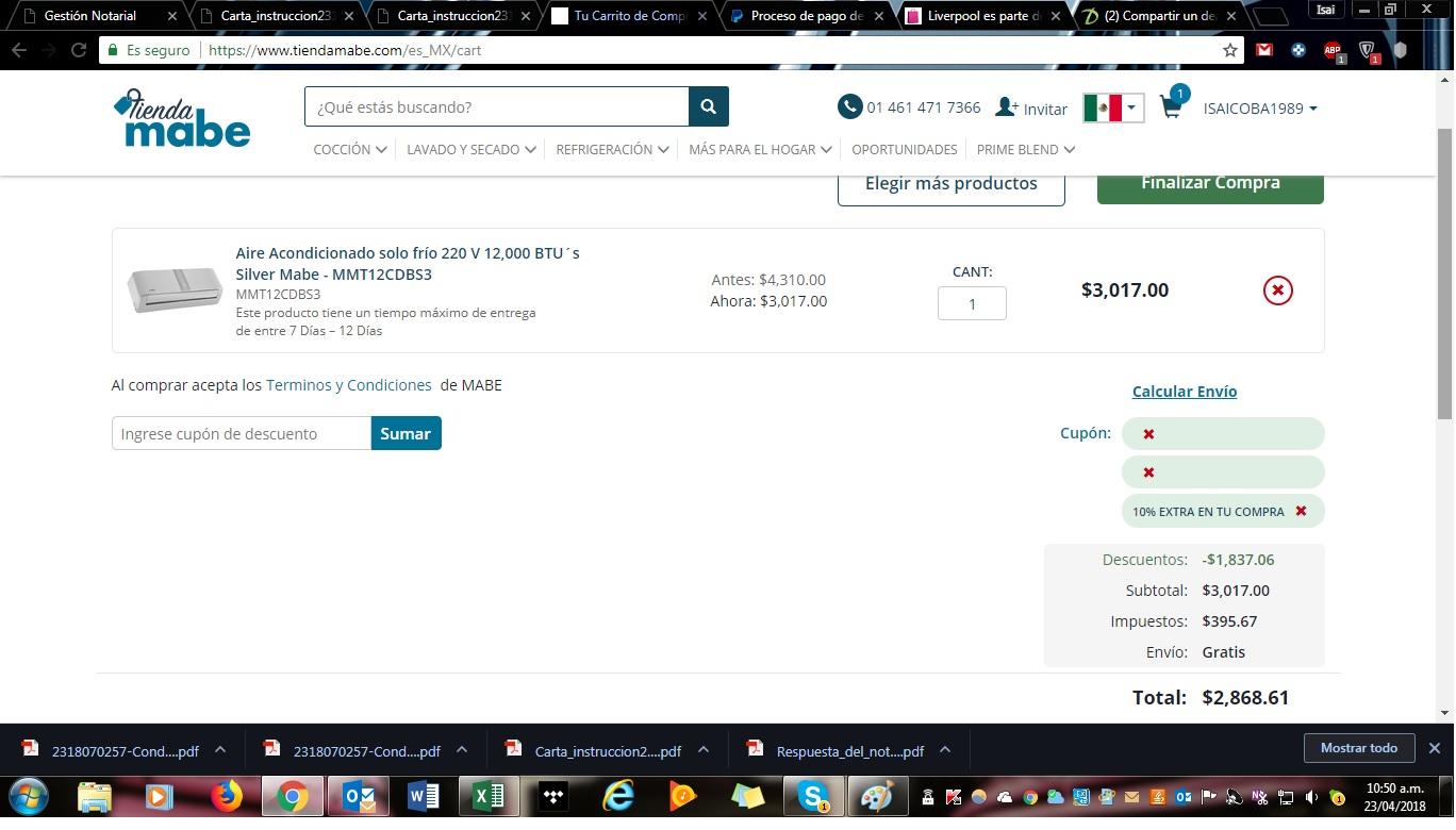 TIENDA MABE: minisplit 220 V 12,000 btu instalacón gratis