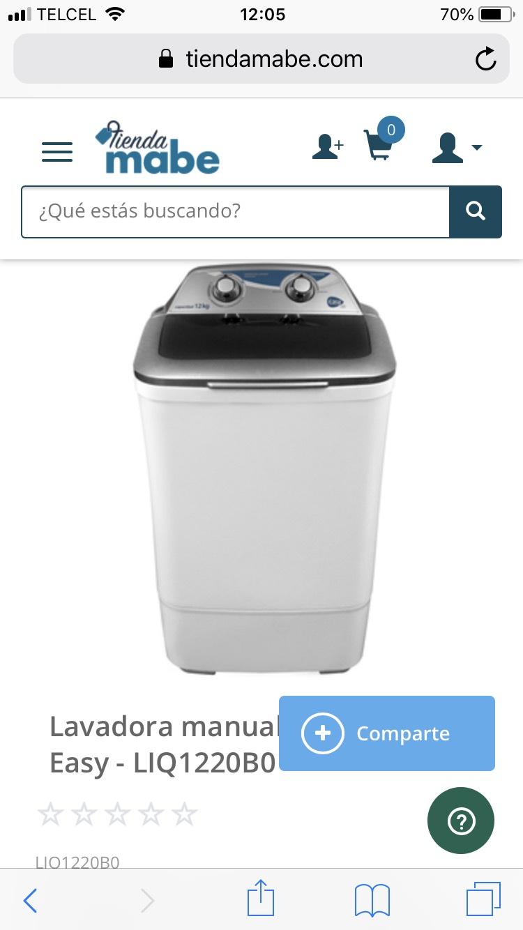 Tienda Mabe: Lavadora manual 12 kg Silver Easy - LIQ1220B0 con cupones