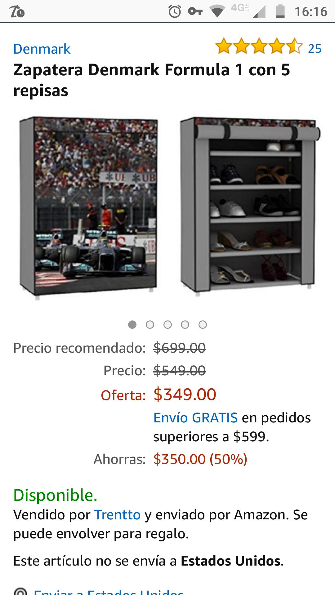 Amazon: Zapatera con 5 repisas