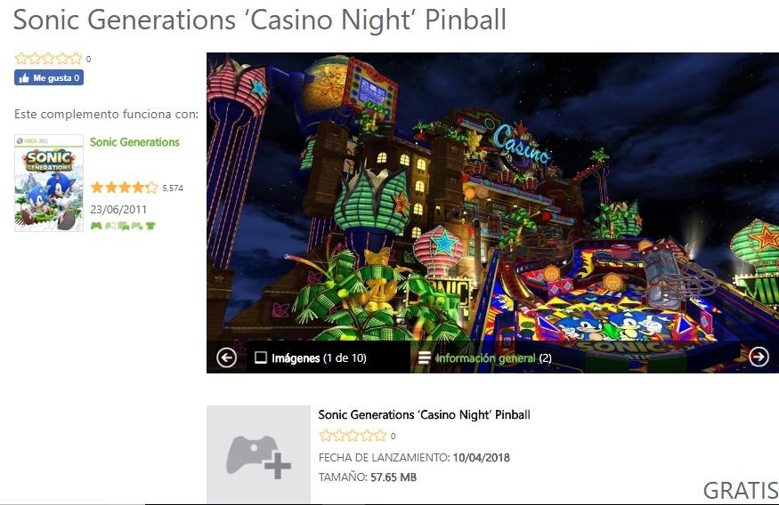 DLC GRATIS!!! Sonic-Generations Casino Night Pinball