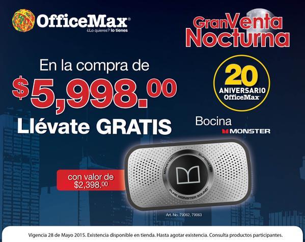 """Venta Nocturna OfficeMax: bocina Monster gratis o pantalla Samsung 32"""" a $998 con compra mínima"""