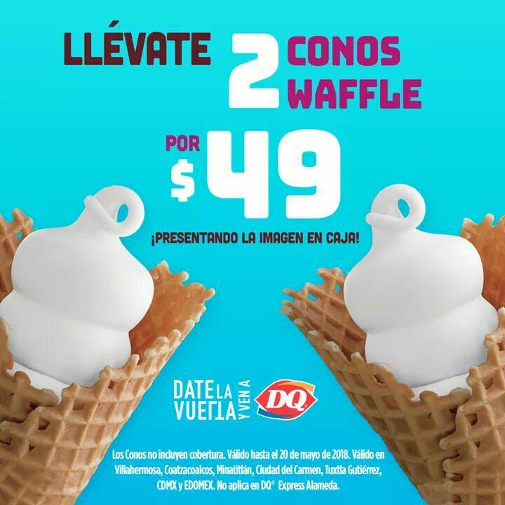 Dairy Queen: 2 Conos Waffles por $49 presentándo Cupon