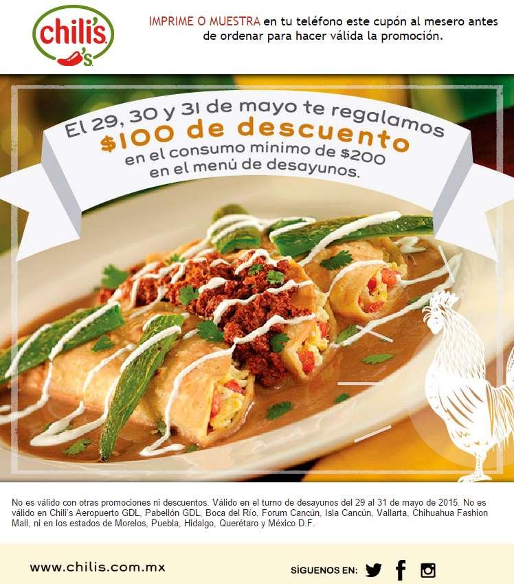 Chilli's: $100 de descuento en consumos de $200 en desayunos