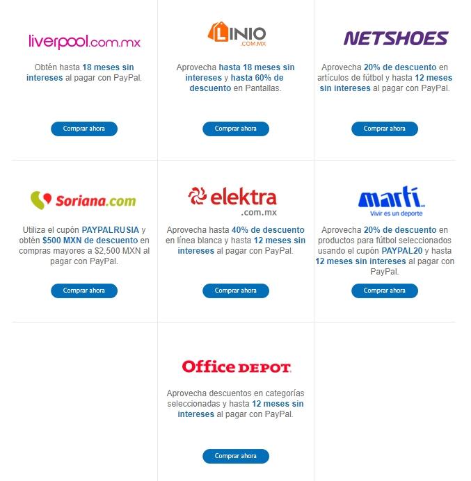 PayPal: Cupones de descuento y meses sin intereses pagando con Paypal al 30 de abril (Martí, Netshoes, Linio y más)