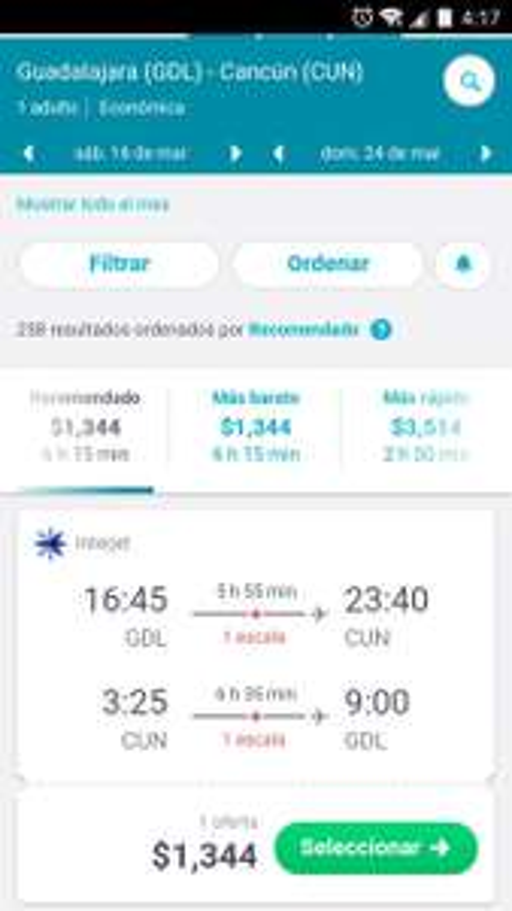 Interjet: Guadalajara - Cancun, Redondo.
