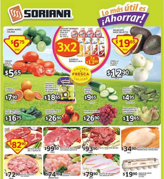 Ofertas de frutas y verduras en Soriana del 26 al 28 de agosto