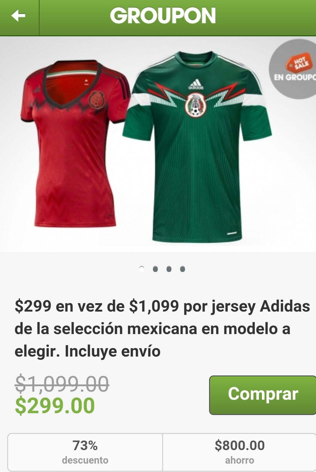 Groupon: Jersey Adidas Oficial Selección Mexicana 2014 $299 (Dama y Caballero)