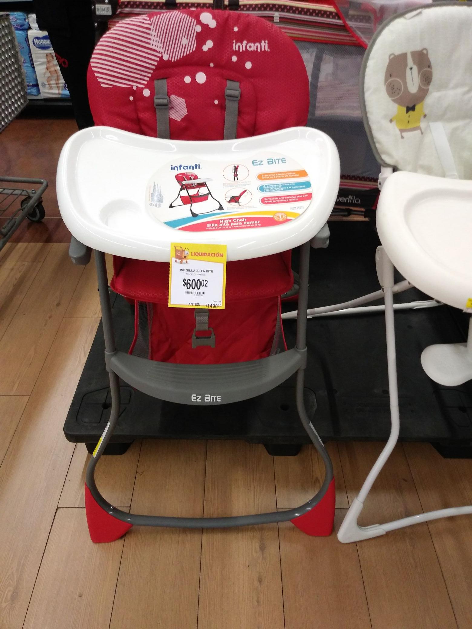Walmart patio santa fe cdmx:  liquidación silla alta 600.02, carriola 800.02 y paquete vanish 50.03