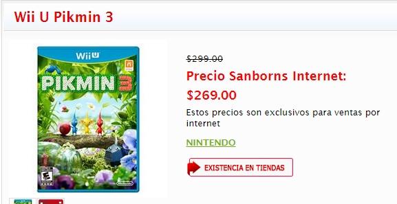 Hot Sale Sanborns: PIKMIN 3 $269 o New Super Mario Bros U $269