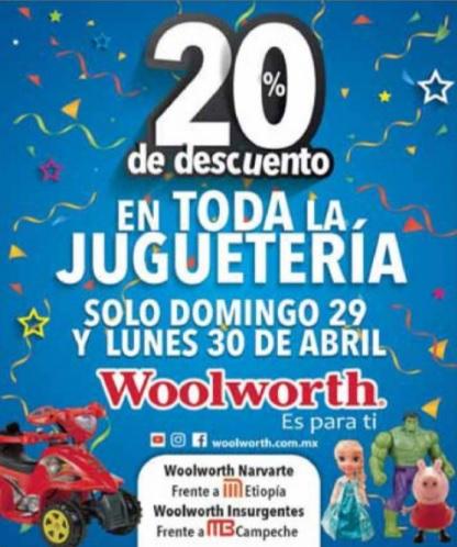Woolworth: 20% de descuento en toda la juguetería 29 y 30 Abril