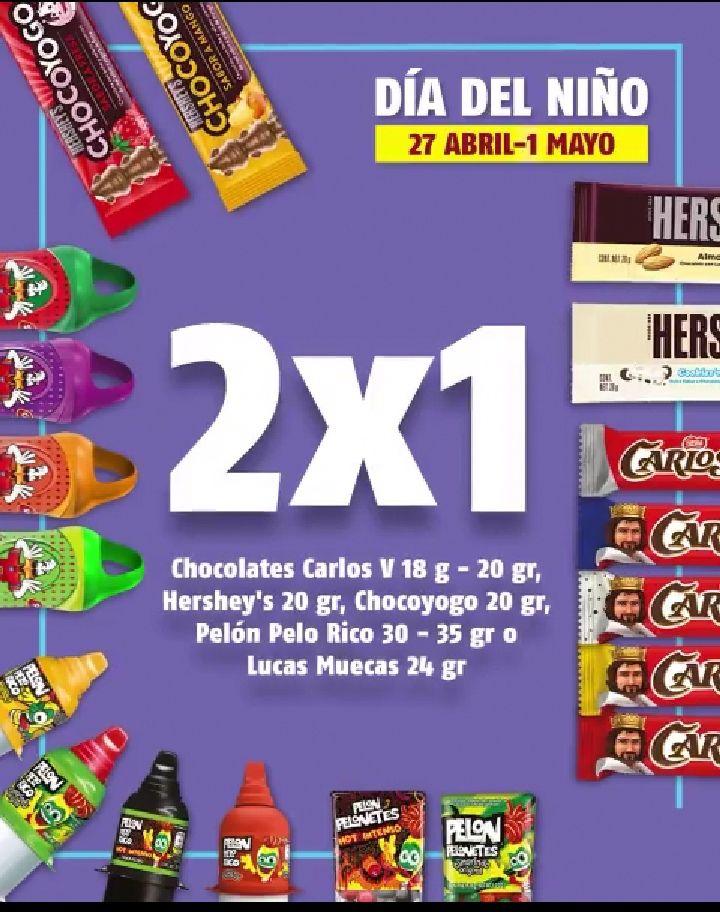 Oxxo 2x1 en variedad de dulces y chocolates por el día del niño