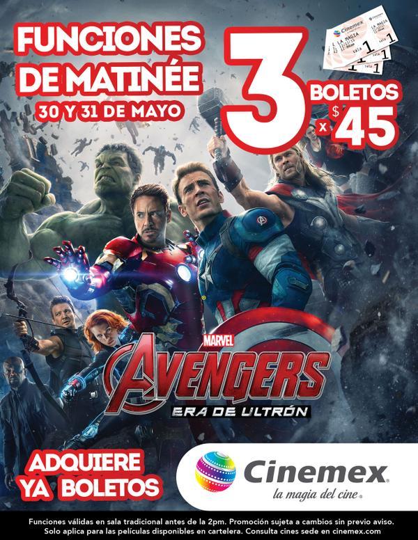 Cinemex: 3 boletos para matinée de Avengers 2 por $45