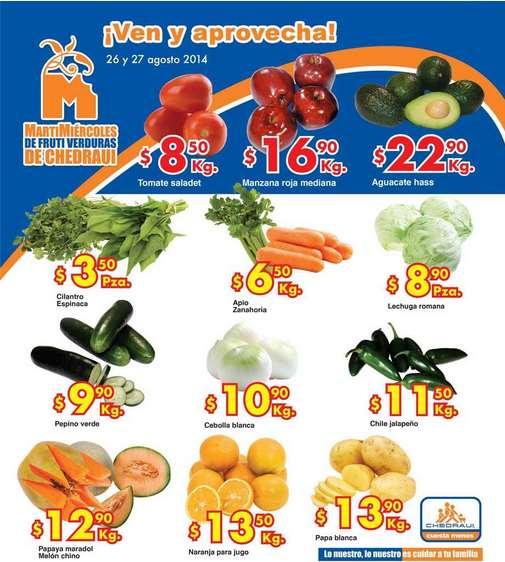 Ofertas de frutas y verduras en Chedraui 26 y 27 de agosto