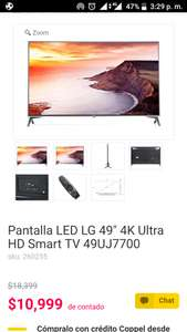 "Coppel:  Pantalla LED LG 49"" 4K Ultra HD Smart TV 49UJ7700"