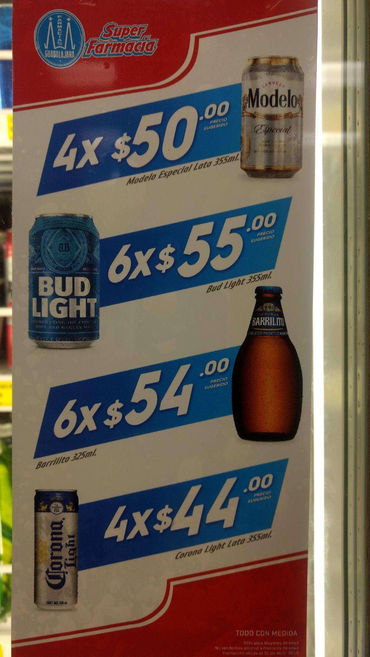 Farmacias Guadalajara: Cervezas a muy buen precio. Corona Light, Barrilito, Modelo, Bud Light