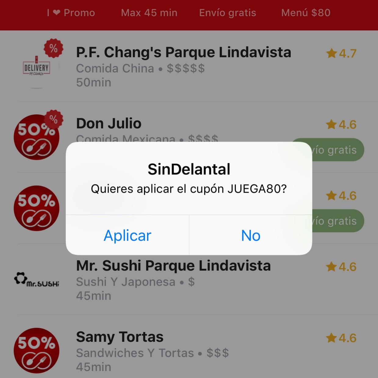 SinDelantal: Cupón $80 de descuento en pedido mínimo de $100