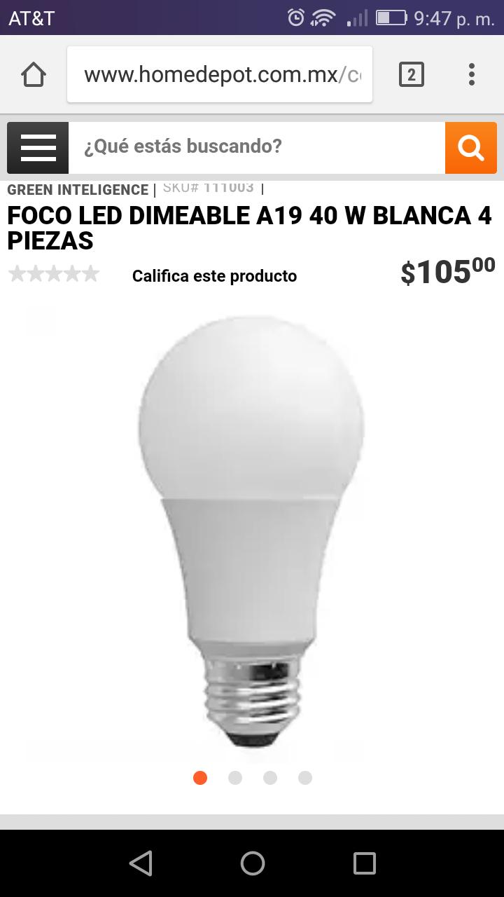 Home Depot: 4 focos led dimeable