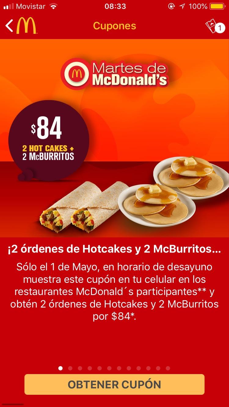 McDonald's: Martes de  2 órdenes de Hotcakes (6 hotcakes en total) y 2 McBurritos