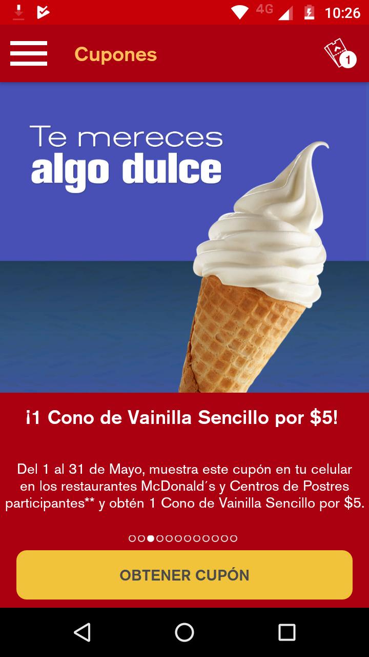 McDonald's : 1 Cono de vainilla sencillo por $5