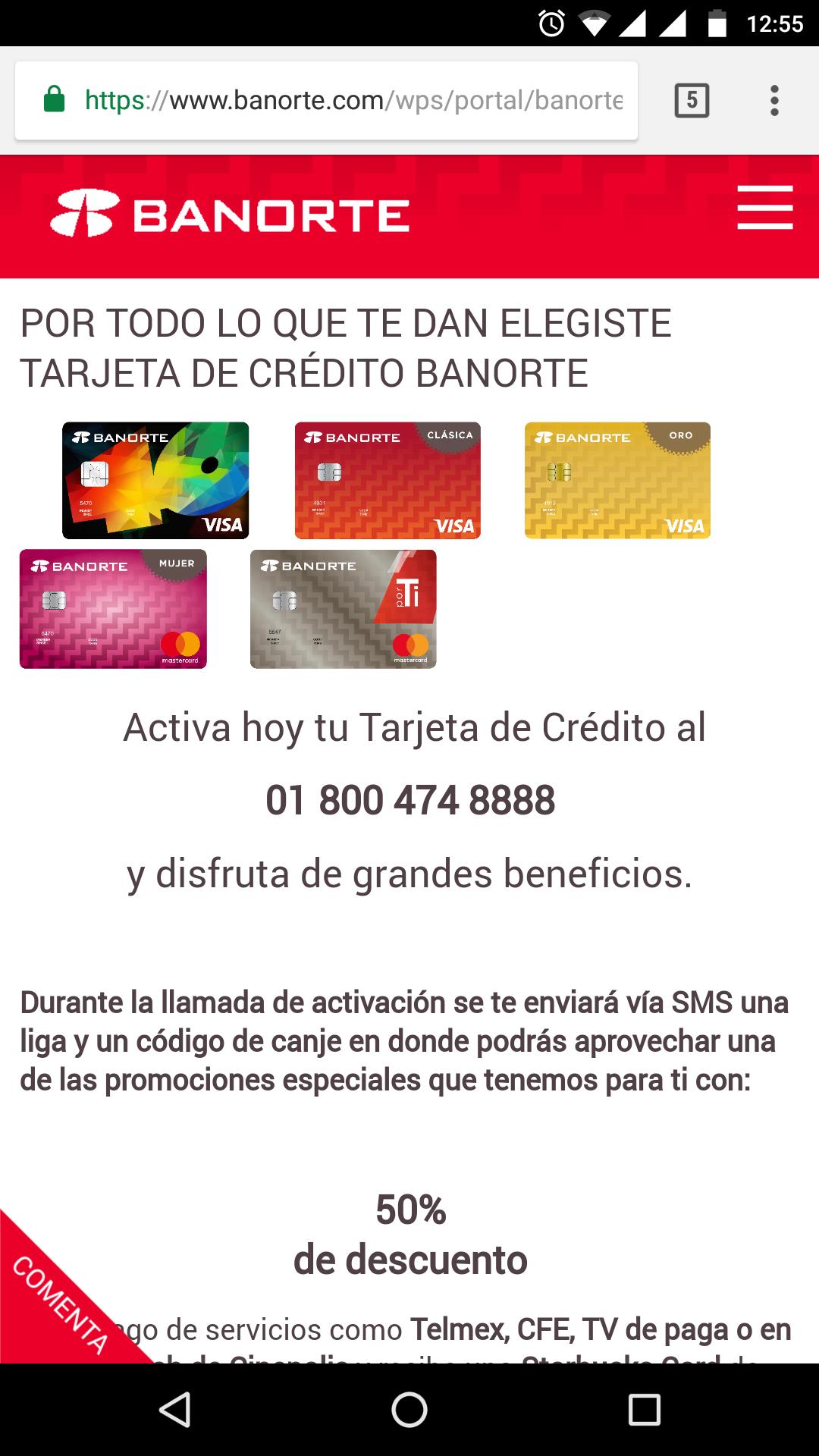 Banorte: 50% de descuento en pago de servicios + Starbuks Card de $100 pesos al solicitar y activar tu tarjeta.
