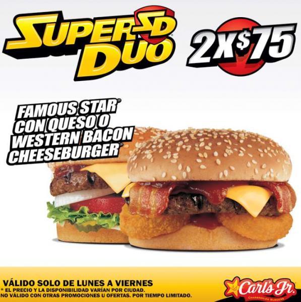 Carl's Jr: 2 hamburguesas por $75, agranda tu combo gratis y más