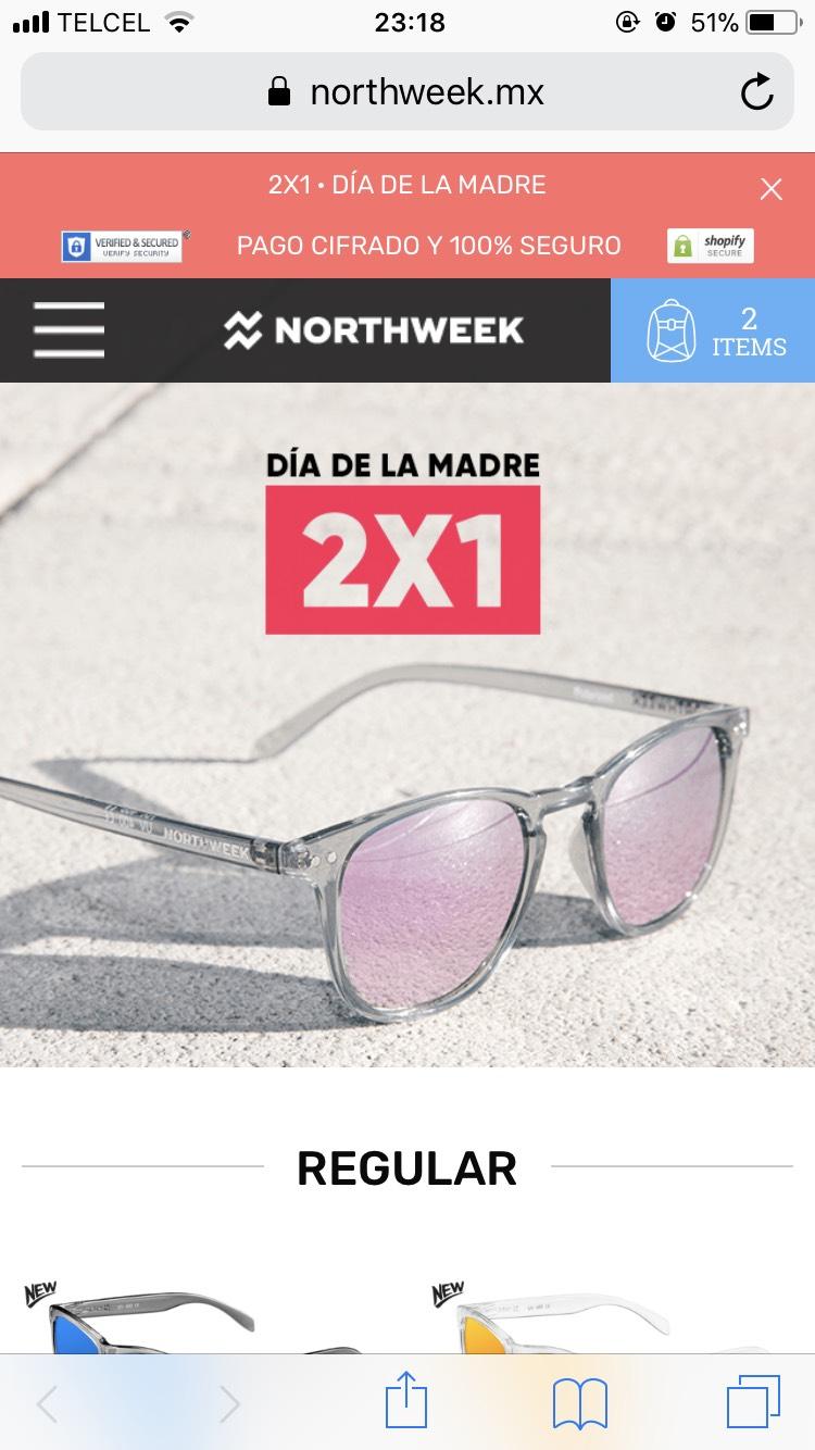 Lentes Northweek: 2x1 en toda la tienda por día de las madres