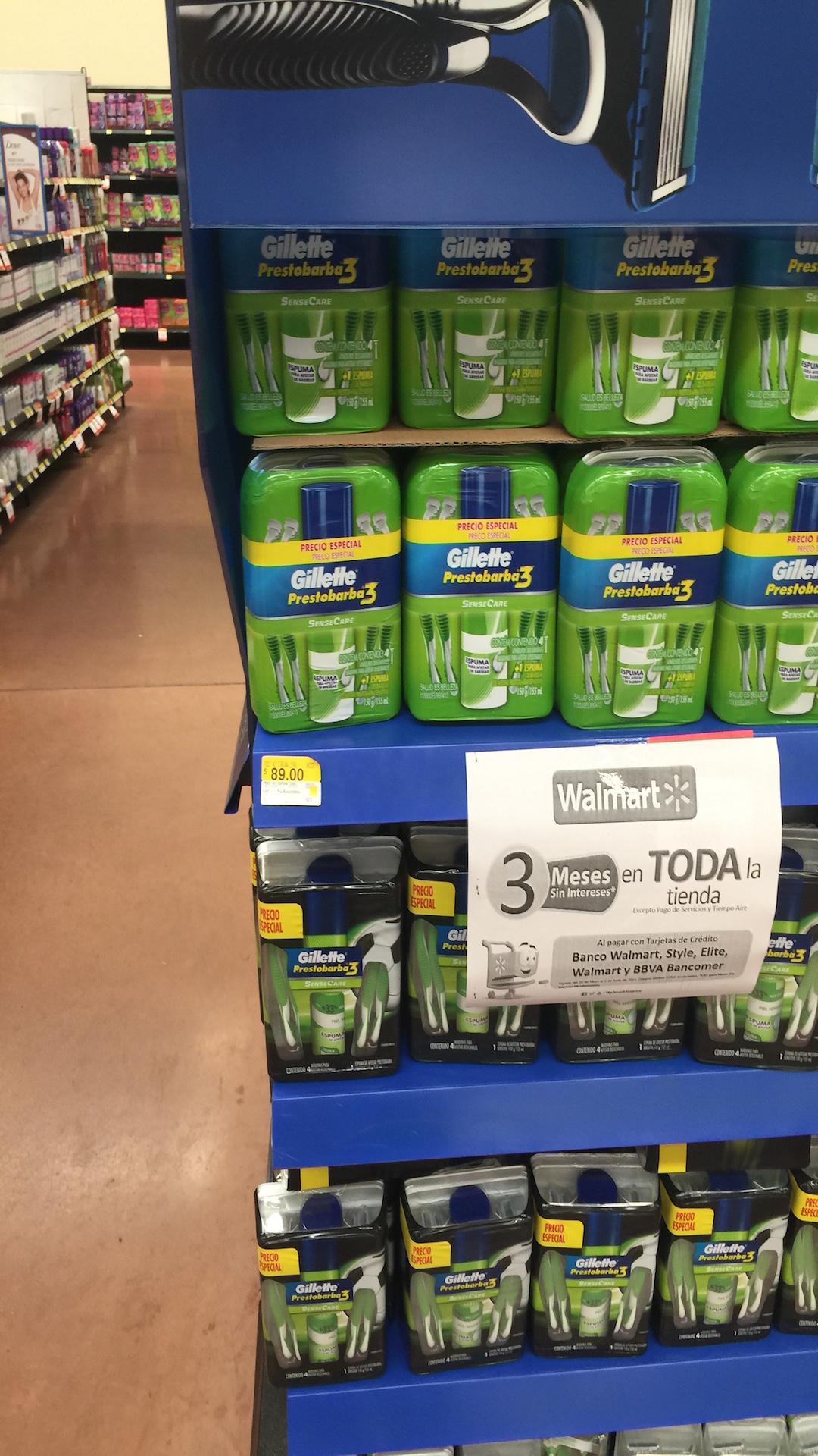 Walmart: 4 rastrillos Gillette Prestobarba 3 + crema para afeitar $89