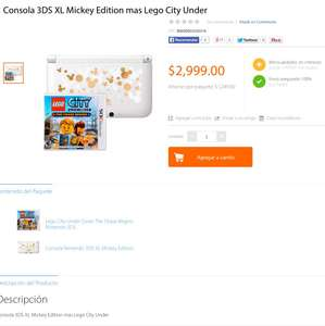 Walmart: Consola 3DS XL Mickey Edition + Lego City Under