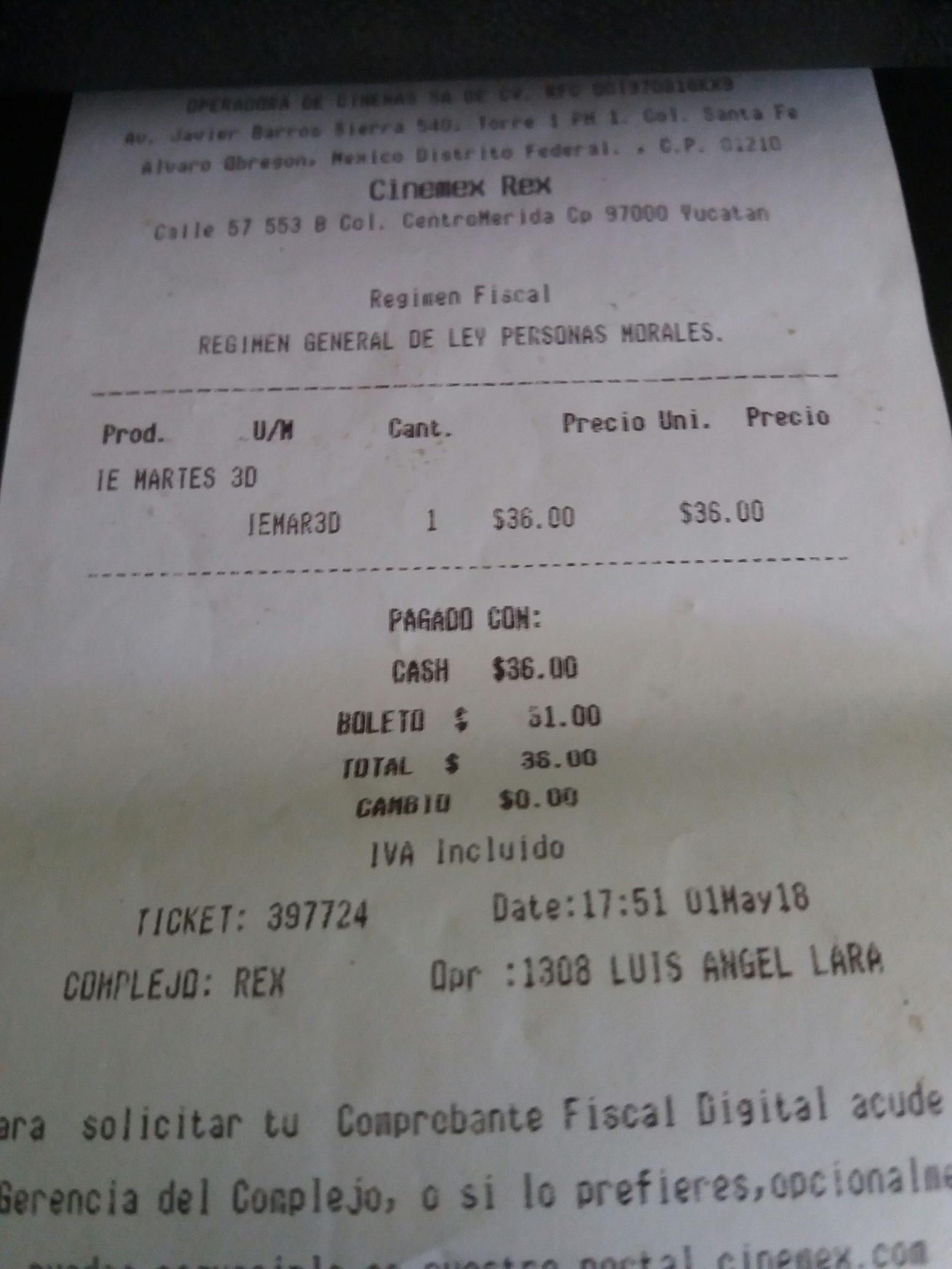 Cinemex: $27 tradicional y $36 3D , ademad de dos por uno los martes con tarjeta de invitado especial